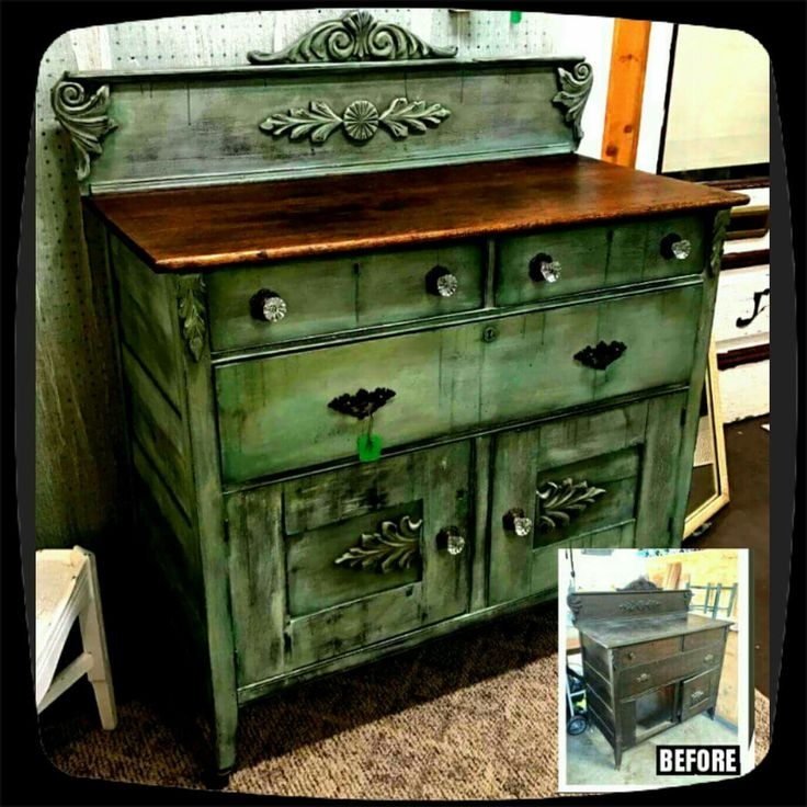"""LaDon from LaDon's Creations did a REMARKABLE makeover on this piece! We'll let her tell you about it! """"I painted the base coat of this antique buffet with a mix of Dixie Belle Blue and Driftwood. Then dry brushed it with Drop Cloth and accented the corners, wood details and drips with Palmetto. I distressed it and used clear and brown wax. This was a fun piece to work on and I LOVE Dixie Belle paint products!"""""""