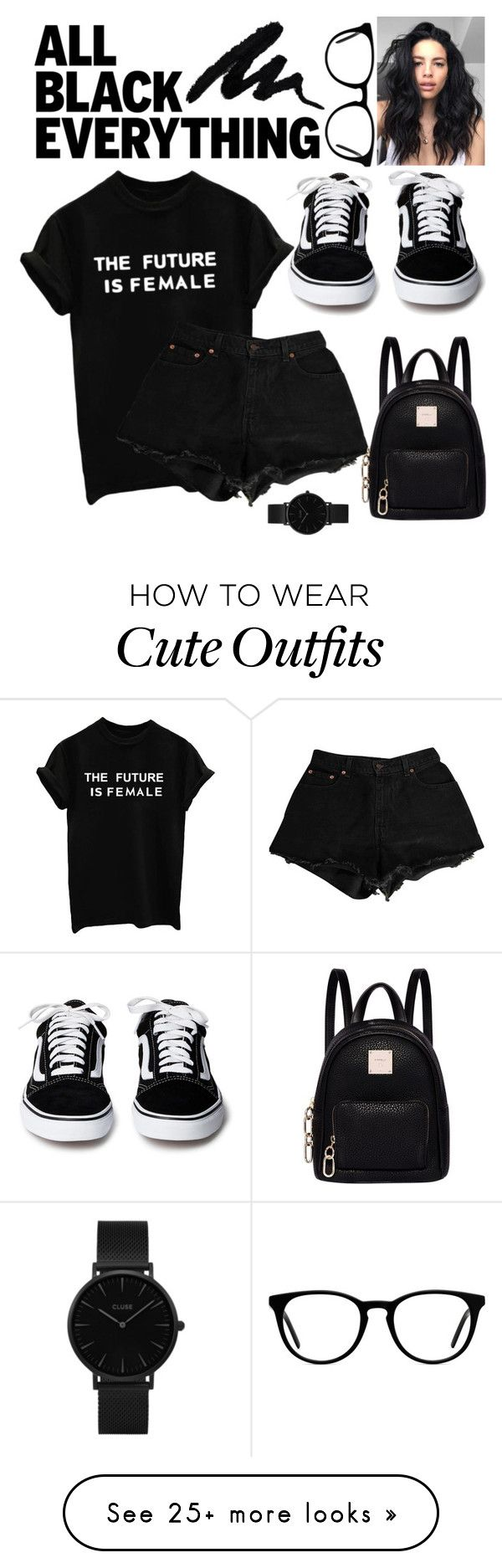 """""""all i need is black"""" by heyheytommo on Polyvore featuring Levi's, Fiorelli, CLUSE, Muse and allblackoutfit"""