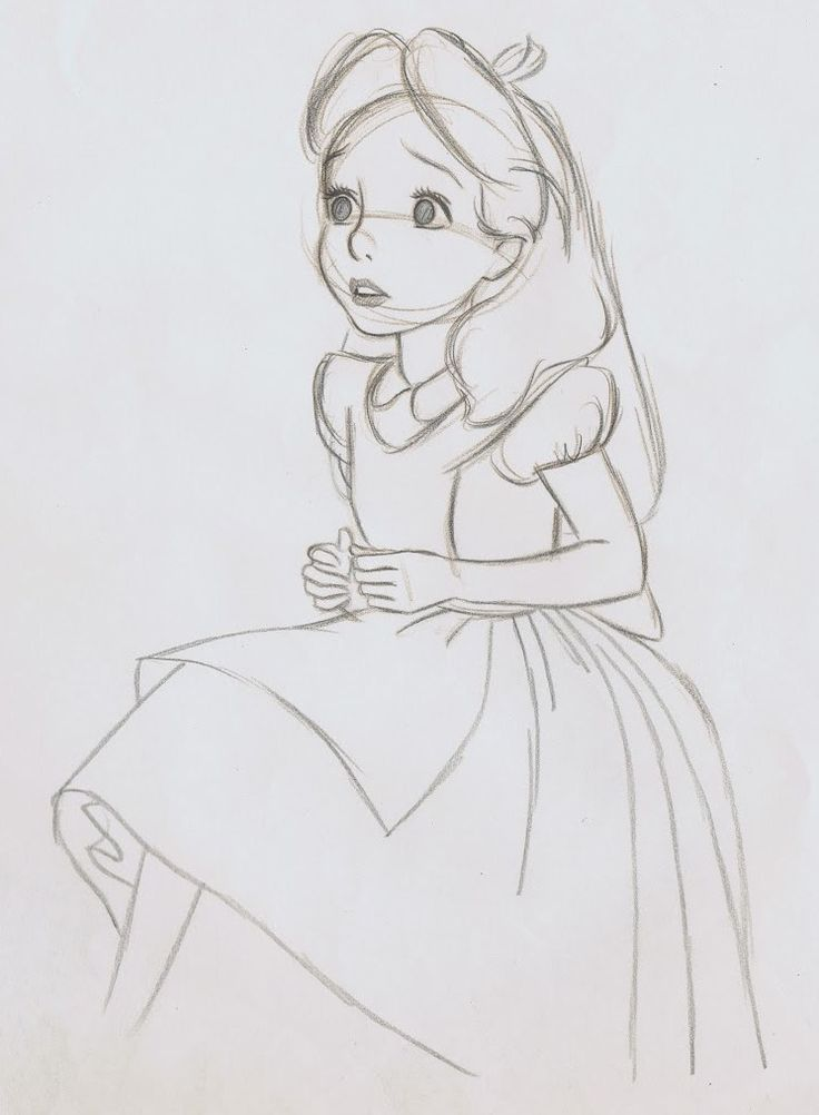 This drawing shows shape. It is a 2D drawing with no volume. There is no shading, only lines. In this drawing, Alice is the positive space, while the white space around her is the negative space.