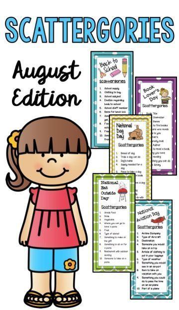22f23cd09f2 August Scattergories Games | 1st Grade | Literacy games, First week ...