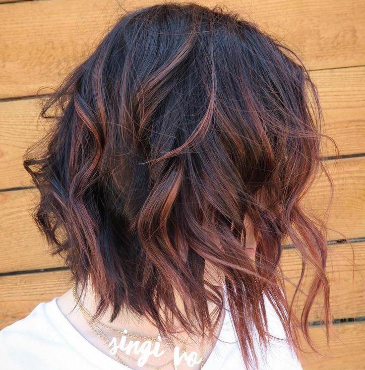 reddishbrownhighlightsforblackhair - Coloration Au Henn