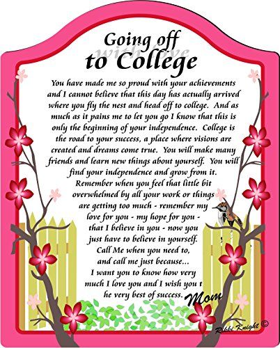 Graduation Love Quotes: Going Off To College (with Love) Touching 8x10 Poem With