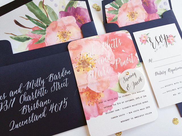'Bianca' Floral Wedding Invitation (White ink printed envelope)