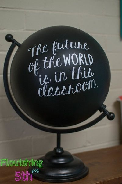 Classroom decor classroom quote The Future of the World is in this classroom globe art