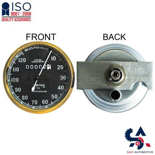Smiths Replica Speedo Meter Speedometer 0-120 MPH Black For BSA Brass