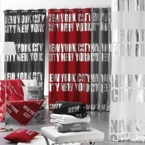 Bonareva - Rideau - Oeillets - 140 x 260 cm - Argent - New-York - Silver - Différents coloris noir - pas cher Achat / Vente Rideaux - RueDuCommerce