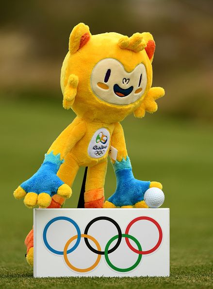 The Rio 2016 mascot pictured with a tee marker during a practice round at Olympic Golf Course on August 8 2016 in Rio de Janeiro Brazil
