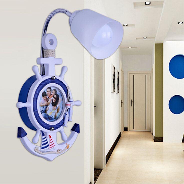 89.25$  Buy now - http://alifh7.worldwells.pw/go.php?t=32775594940 - Creative Children's Led Wall Lamp Light Fixtures Mediterranean Kids Room Wall Led Lamp E27Entrance Lamp 110V-220V Wall Led Light 89.25$