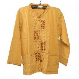Camisa de algodón tailandés a botones beige Talla L