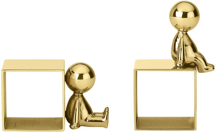 Ghidini 1961 - Omini Portatovaglioli Napkin Holder Set of 2 - Brass - Sitting