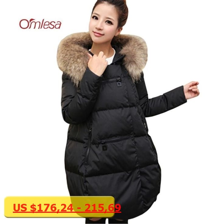 OMLESA Nature Raccoon Fur Down Coat Women Fashion Duck Down Jackets Pure Color Fluffy Parka Ladies Long Thicken Overcoat YQ314