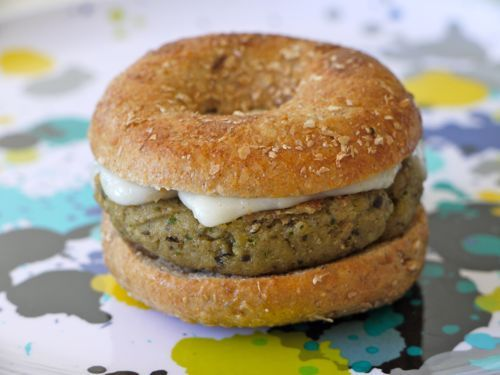 Eggplant Burgers from weelicioius - easy, quick, and yummy!  I actually used goat cheese instead and sesame seed crackers for the breadcrumbs - tasty!