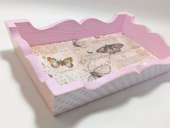 Pink Butterfly Tray Decoupaged by tatteredpearls on Etsy, $5.00