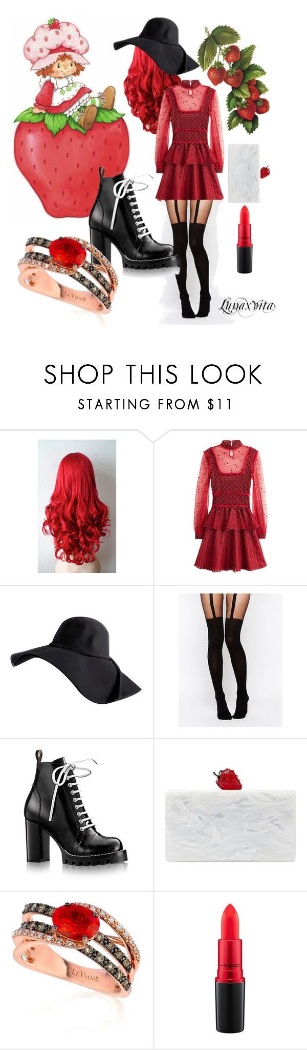 """Strawberry Shortcake"" by lunaxvita ❤ liked on Polyvore featuring Alexander McQueen, ASOS, Edie Parker, LE VIAN and MAC Cosmetics"