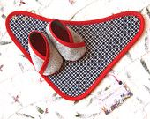 Baby Girl and Boy Shoes Bandana Bib - Blue and Red with kimono shoes - newborn also available