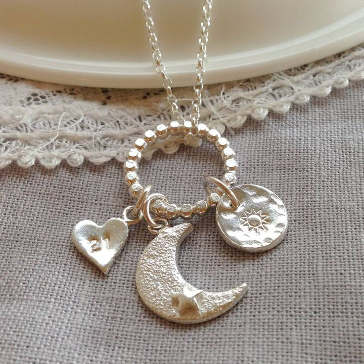 Sterling Silver Moon And Sun Cluster Pendant