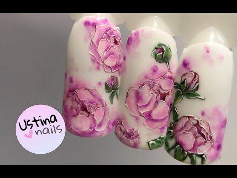 Рисуем пионы. Дизайн ногтей - YouTube