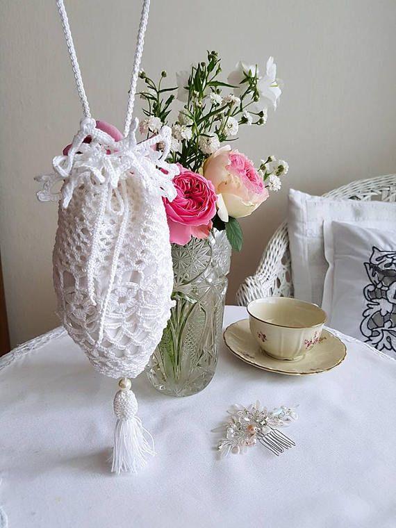 Little white purse Bridal lace moneybag Art deco tassel