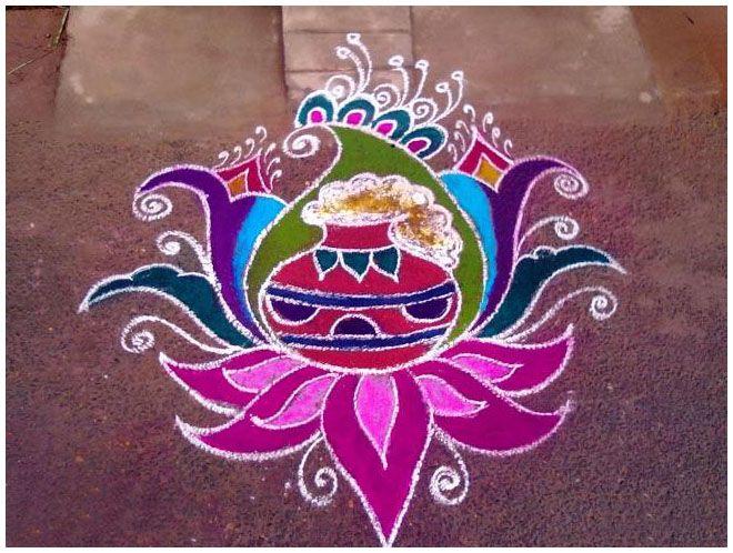 25 Beautiful Pongal Kolam and Pongal Rangoli Designs | Read full article: http://webneel.com/pongal-kolam-rangoli | more http://webneel.com/drawings | Follow us www.pinterest.com/webneel