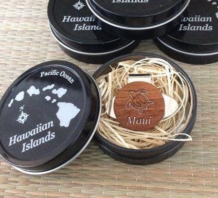 Wedding Gifts For Hawaii : Gift HAWAIIAN Koa Wood Golf Ball Marker / Hat Clip & Tin CaseHawaii ...