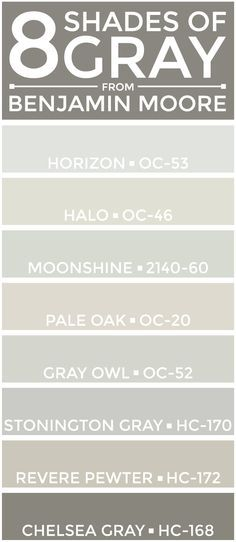 eight great shades of gray from @benjamin_moore -- perfect for a neutral color…