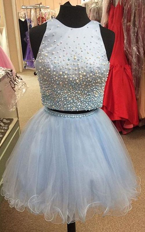 Sky Blue Mini Sleeveless Satin Tulle Scoop Neck Princess Pearl Short Homecoming Dress