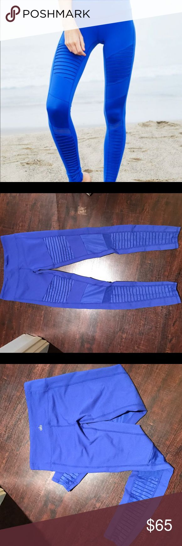 ALO MOTO (electric blue) ALO YOGA🖤medium🖤bright electric blue🖤the infamous MOTO leggings🖤worn under 5x...great condition🖤priced to sell🦋 ALO Yoga Pants Leggings