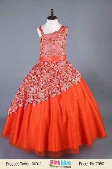 Ball Gown Orange Tulle Long Flower Girls Dresses for Kids | Princess Evening Prom Dress | Designer Kids Clothing Collection 2016