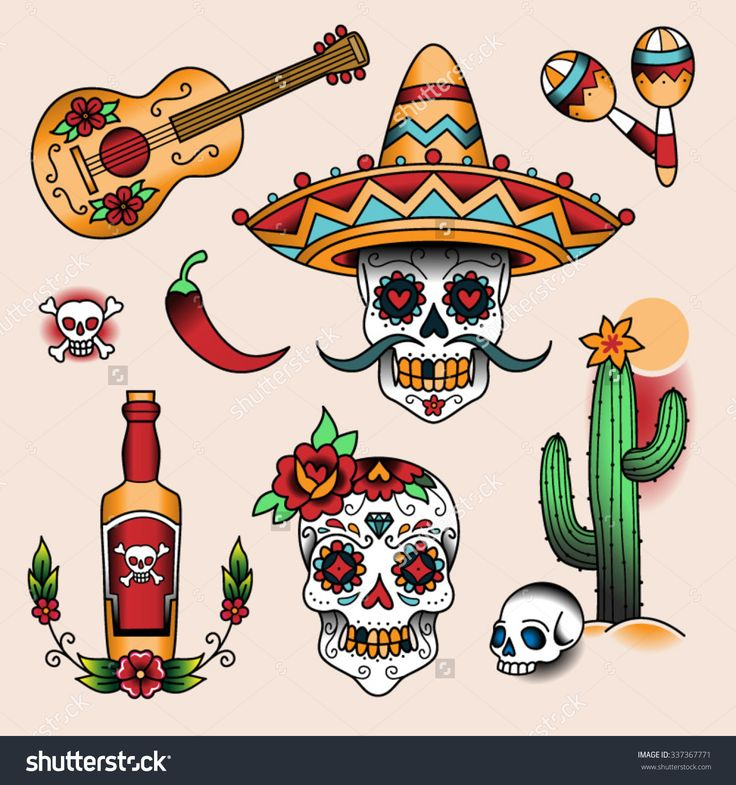 stock-vector-mexican-symbols-set-of-color-tattoos-in-traditional-vintage-style-337367771.jpg (1500×1600)