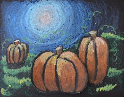 Tints and Shades on Moonlit Pumpkins (oil pastels and baby oil)