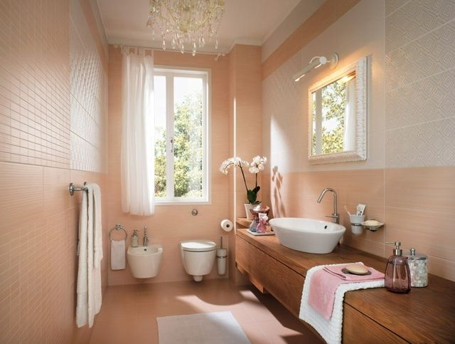 Holzoptik Waschbecken Unterschrank helle Badezimmer Fliesen