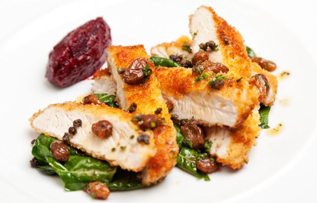 Turkey escalope with beetroot and caper chutney, golden raisins and pan juices.