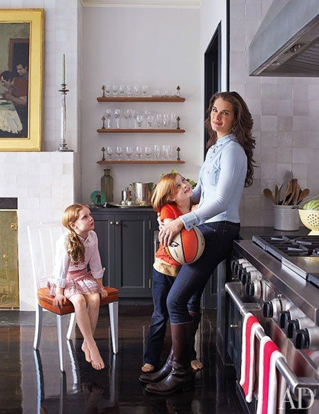 Brooke Shields with her Wolf range. Get an exclusive look at the rest of her Manhattan home from @Architectural Digest