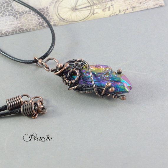 Titanium aura quartz by POCIECHAJEWELRY by POCIECHAjewelry on Etsy