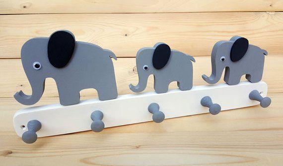 Kindergarderobe Holz Elefant Wandhaken Kinderzimmer Garderobe