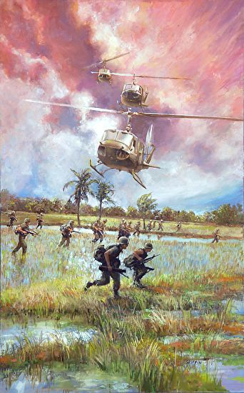 VIETNAM RICE FIELDS by James V Griffin Oil ~ 30 inches ( 76.2cm ) x 18 inches ( 45.7cm )