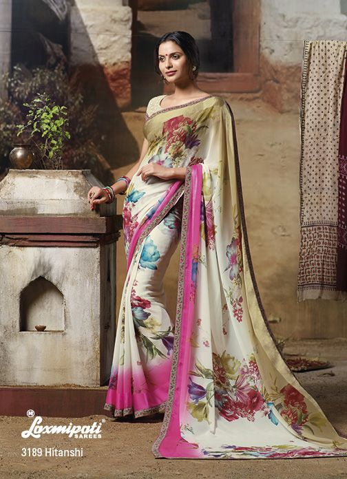 Splendid floral print on a Georgette material saree with fantastic chikan blouse.