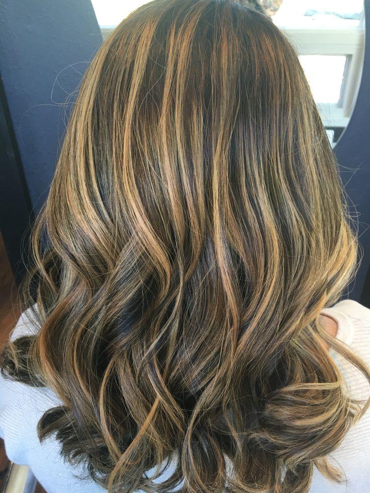 Honey And Caramel Balayage On A Dark Brown Base Hair And