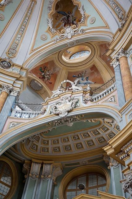 Baroque detail of the dome from church of Santa Chiara in Bra, Piedmont (CN) - Italy = arch : Bernardo Vittone (1702-1770)  - frescoes by Pietro Paolo Operti