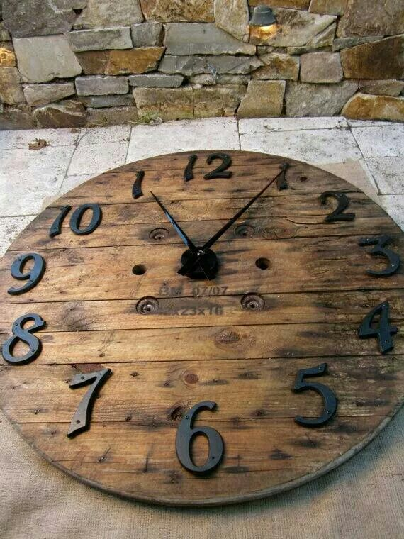 Recycled Wood Wall Clock - made from a cable spool