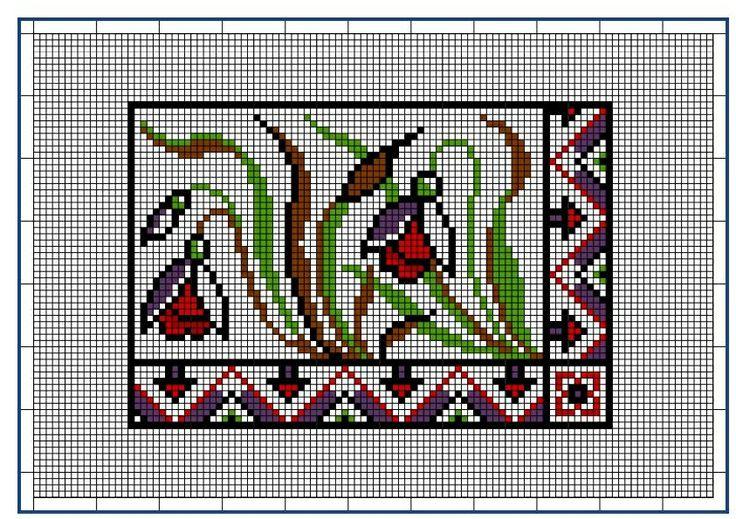 Moderne Stickerei-Vorlagen, Secession, Jugend-Styl, page 8. c. 1915. Art Nouveau cross-stitch, flowers.