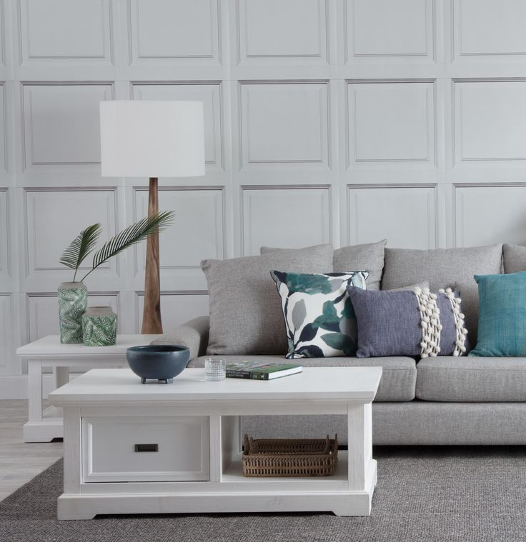 Dallas sofa with hamptons coffee and side and Sigrid floor lamp