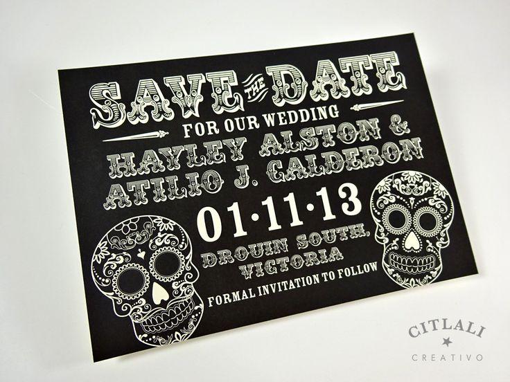 Skull Wedding Save the Date - Day of the Dead / Dia de los muertos / Sugar Skulls - Black or any color by Citlali - Custom Invitations - Seattle Burien, Washing - we ship internationally