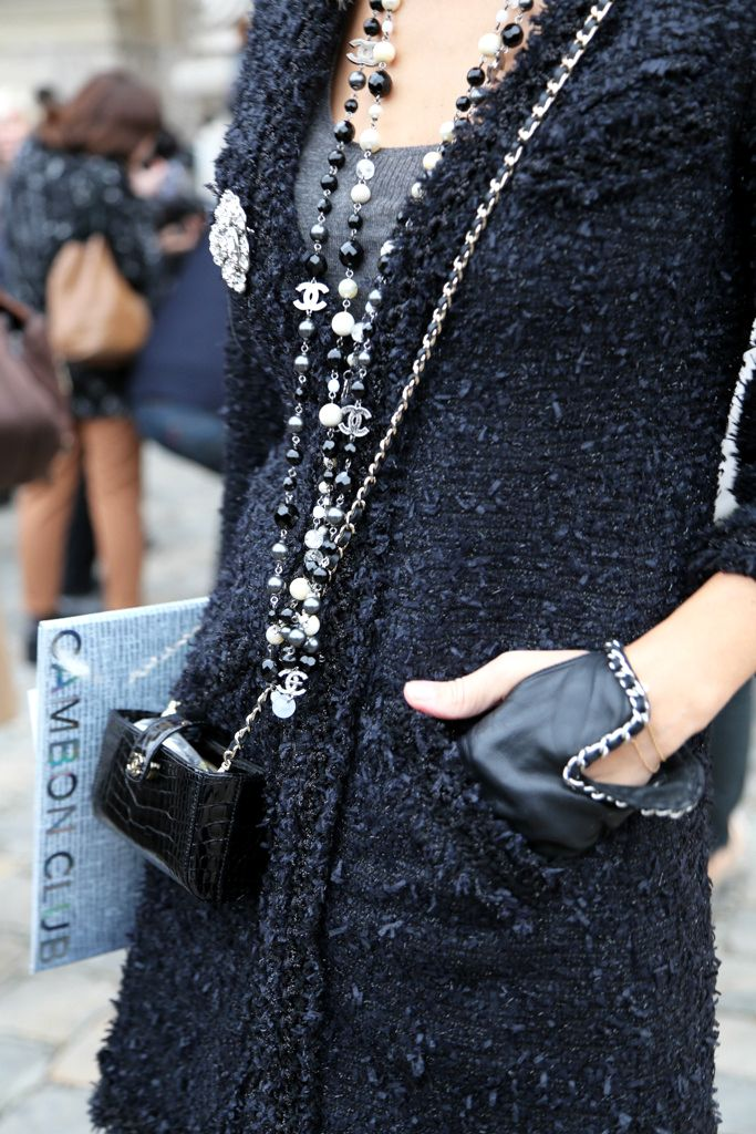 Black #Chanel Tweed + Pearl Necklace + Gloves Street Style at Spring Summer 2014 #Paris #Couture #fashion