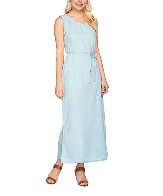 Bleached Denim Sleeveless Tie-Waist Maxi Dress - Plus Too