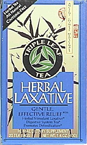 Triple Leaf Tea Bags, Herbal Laxative, 1.27 Ounce Box, 20 Count Bags