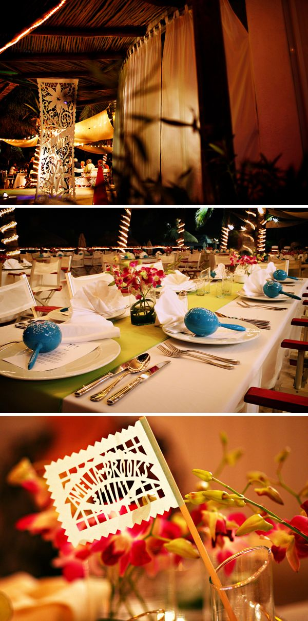 Beautiful mexico destination wedding by Del Sol Photography ~ Vibrant fiesta table decor