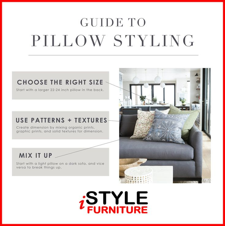 Properly arranged pillows on your sofa will create a great ambiance. Plus, by rotating pillows periodically you can keep the room looking fresh and updated! Here is a quick guide for you.