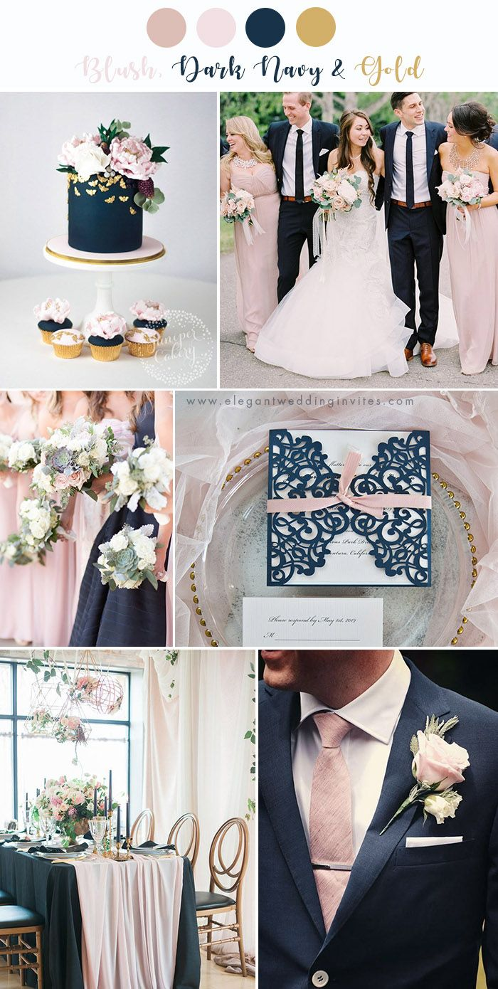 7 stunning wedding color palettes with blush pink | navy
