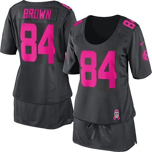 womens nike pittsburgh steelers 84 antonio brown elite dark grey breast cancer awareness jersey 99.99